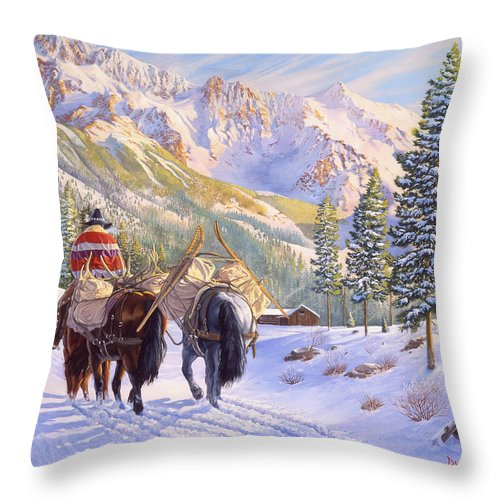 Horses Throw Pillow featuring the painting High Country by Howard Dubois