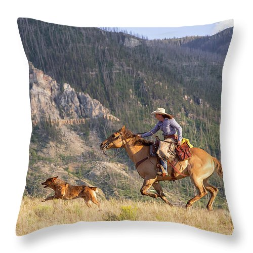 Cowboy Throw Pillow featuring the photograph High Country Ride by Jack Bell