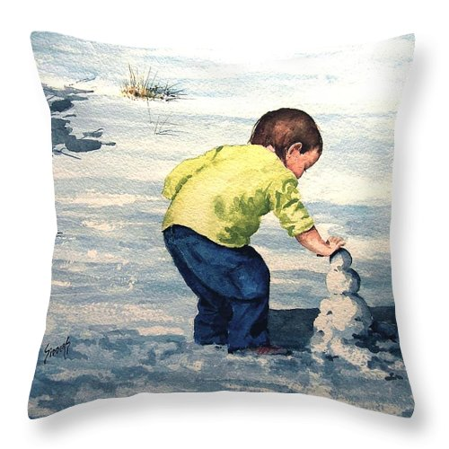 Child Throw Pillow featuring the painting High Country Snow Girl by Sam Sidders