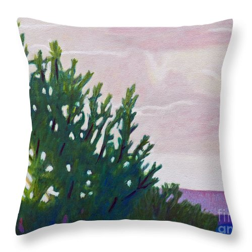 Landscape Throw Pillow featuring the painting High Desert Glow by Brian Commerford
