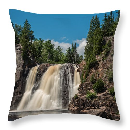 Waterfall Throw Pillow featuring the photograph High Falls Of Tettegouche State Park 4 by AMB Fine Art Photography