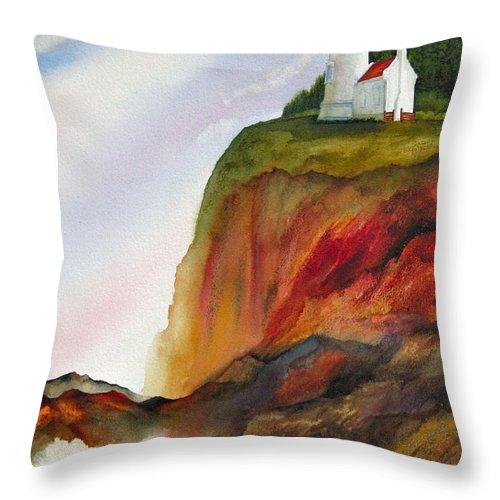 Coastal Throw Pillow featuring the painting High Ground by Karen Stark