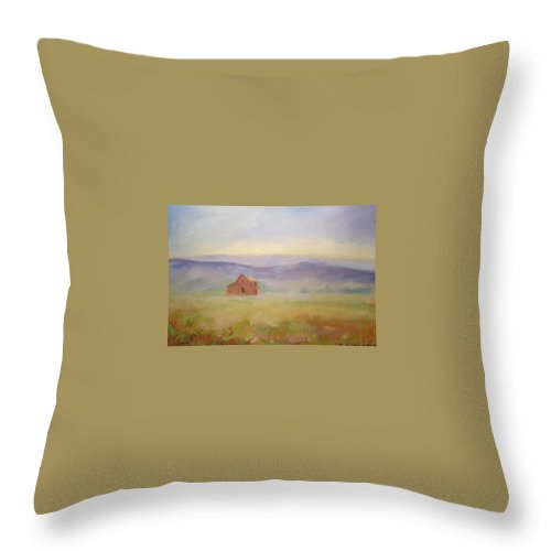 Old House In Landscape Throw Pillow featuring the painting High Lonesome by Ginger Concepcion