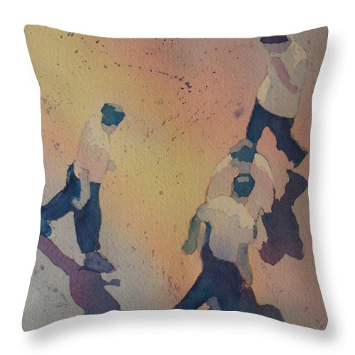 Men Throw Pillow featuring the painting High Noon At The Gravel Spit I by Jenny Armitage