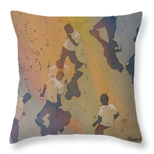 Men Throw Pillow featuring the painting High Noon At The Gravel Spit II by Jenny Armitage