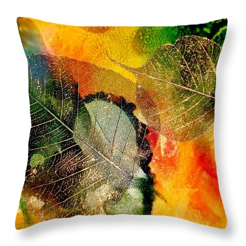 Abstract Throw Pillow featuring the mixed media High On Nature by Susan Kubes