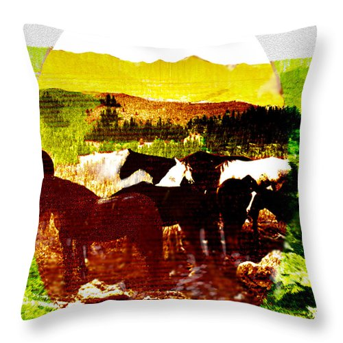 Mustangs Throw Pillow featuring the digital art High Plains Horses by Seth Weaver