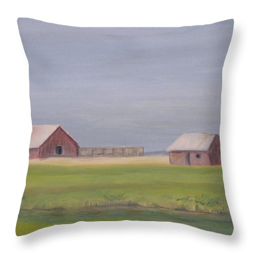 Landscape Plains Barn Throw Pillow featuring the painting High Plains by Patricia Caldwell