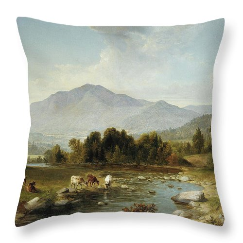 High Point Throw Pillow featuring the painting High Point Shandaken Mountains, 1853 by Asher Brown Durand
