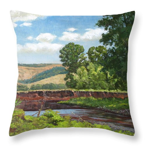 Midday Throw Pillow featuring the painting High Riverside by Alexander Bezrodnykh