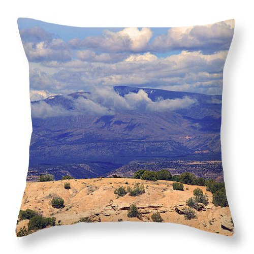 Taos Throw Pillow featuring the photograph High Road To Taos Panorama by Catherine Sherman