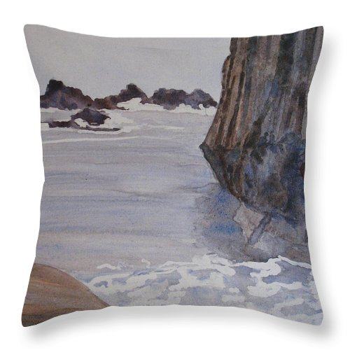Seapcape. Seascapes Throw Pillow featuring the sculpture High Tide At Seal Rock by Jenny Armitage
