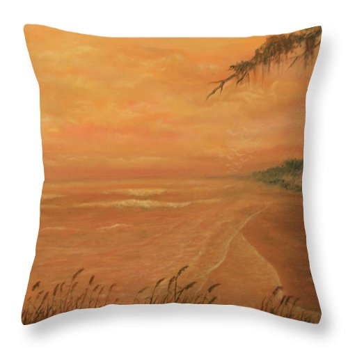 Beach; Ocean; Palm Trees; Water Throw Pillow featuring the painting High Tide by Ben Kiger