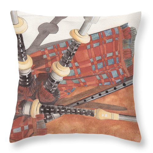 Great Throw Pillow featuring the painting Highland Pipes II by Ken Powers