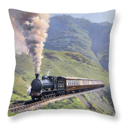Steam Throw Pillow featuring the painting Highland Steam by Richard Picton