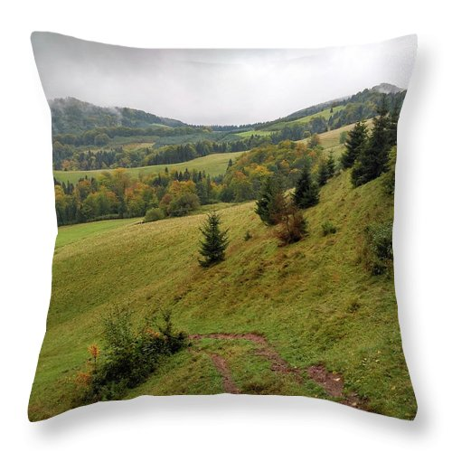 Pieniny Throw Pillow featuring the photograph Highlands landscape in Pieniny by Arletta Cwalina
