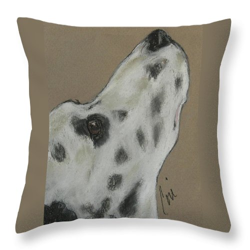 Dalmatian Throw Pillow featuring the drawing Highly Motivated by Cori Solomon