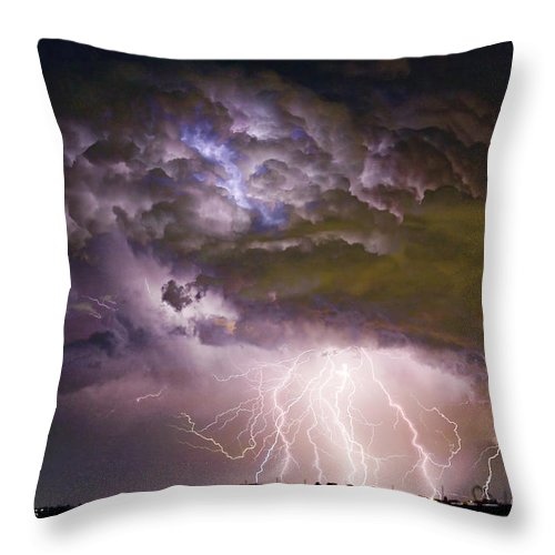 Colorado Lightning Throw Pillow featuring the photograph Highway 52 Storm Cell - Two And Half Minutes Lightning Strikes by James BO Insogna