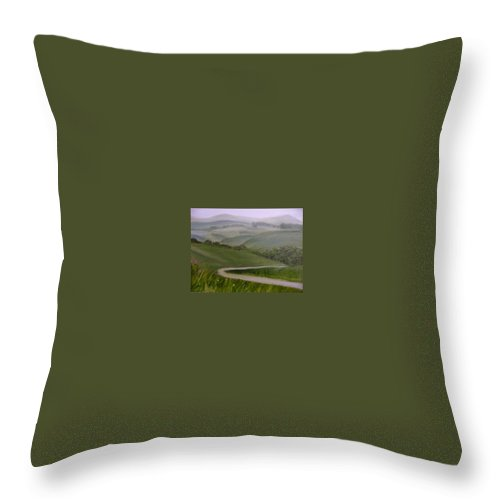 Pathway Throw Pillow featuring the painting Highway Into The Hills by Toni Berry