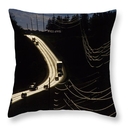 Highway Throw Pillow featuring the photograph Highway Sunset by Steve Somerville
