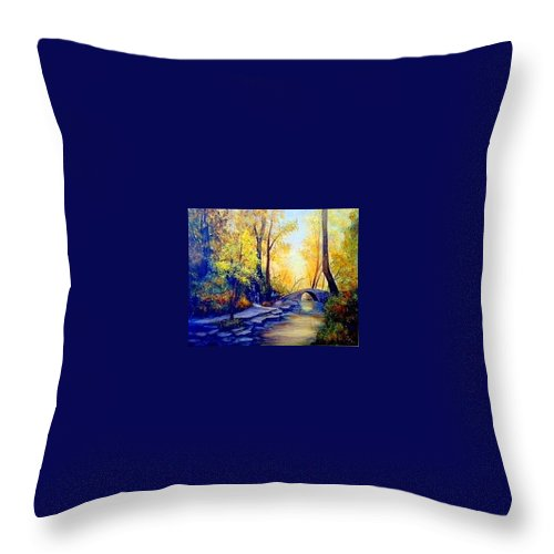 Woods Throw Pillow featuring the painting Hiking by Gail Kirtz