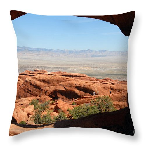 Arches National Park Utah Throw Pillow featuring the photograph Hiking Through Arches by David Lee Thompson