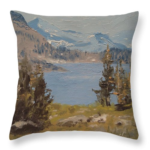 Landscape Throw Pillow featuring the painting Hiking Yosemite by Barbara Andolsek