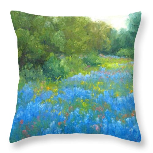 Bluebonnets Throw Pillow featuring the painting Hill Country Blues by Bunny Oliver