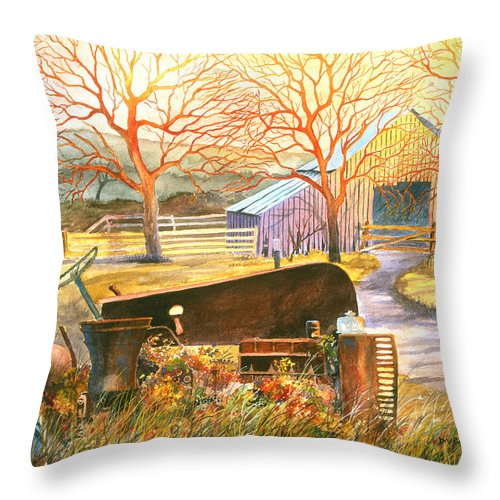 Old Tractor Throw Pillow featuring the painting Hill Country Memories by Howard Dubois