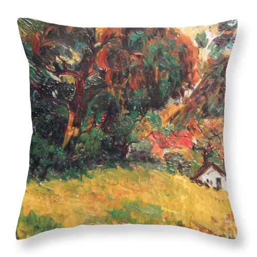 Tree Throw Pillow featuring the painting On the Hill by Meihua Lu