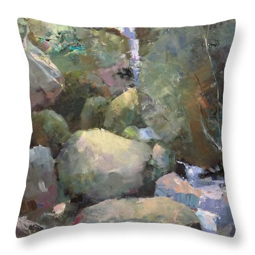 Landscape Throw Pillow featuring the painting Hill Side Spring by R W Carlson