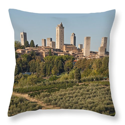 Architecture Throw Pillow featuring the photograph Hill Town Of San Gimignano by Petr Svarc