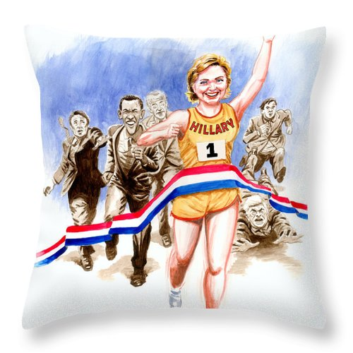 Hillary Clinton Throw Pillow featuring the painting Hillary And The Race by Ken Meyer