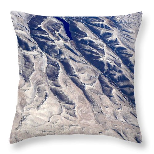 Aerial Throw Pillow featuring the photograph Hills And Valleys Aerial by Carol Groenen