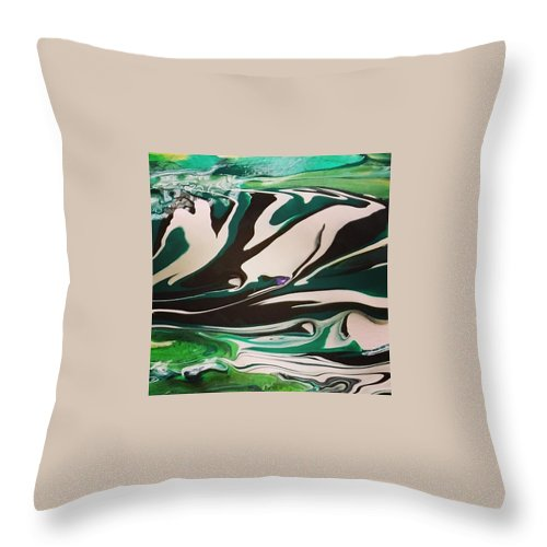 Abstract Art Throw Pillow featuring the painting Hills by Dawn Sawyers
