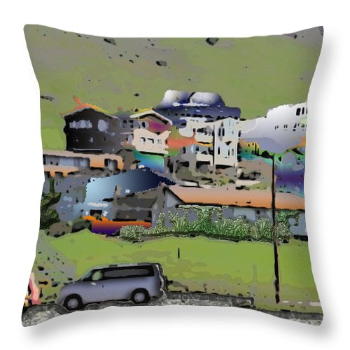 Homes Throw Pillow featuring the photograph Hillside City by Arline Wagner