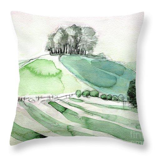 Hilltop Copse - Contemporary Art - Fine Art Painting - English Painting - Watercolour Painting - Elizabethafox Throw Pillow featuring the painting Hilltop Copse by Elizabetha Fox