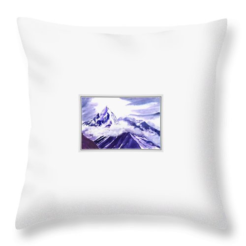 Landscape Throw Pillow featuring the painting Himalaya by Anil Nene