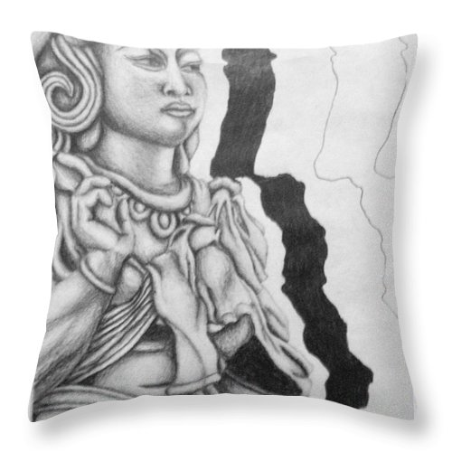 Hindu Throw Pillow featuring the drawing Hindu Goddess by Ashley Warbritton