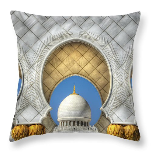Inductee Throw Pillow featuring the photograph Hindu Temple by John Swartz