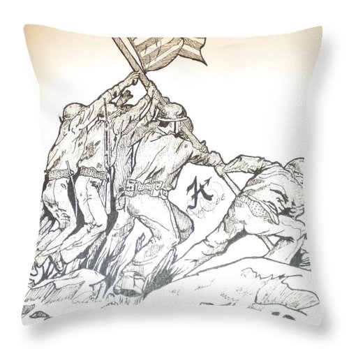 Mixed Medium Compose Of Pencil And Indian Ink Throw Pillow featuring the mixed media Hiroshima by Franky A HICKS