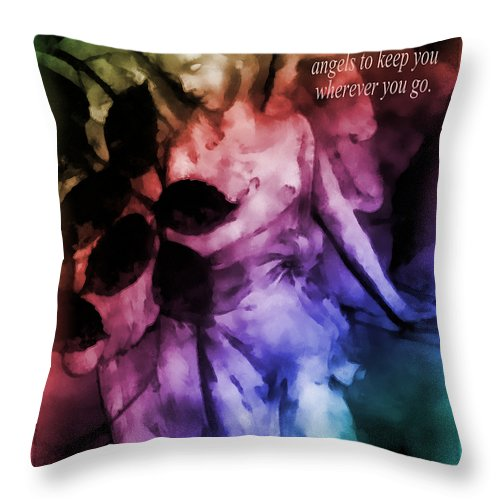 Angel Throw Pillow featuring the photograph His Angels 2 by Angelina Vick