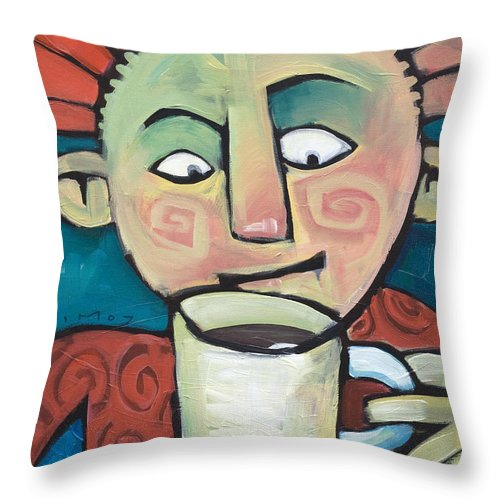 Smile Throw Pillow featuring the painting His Coffee Spoke To Him by Tim Nyberg
