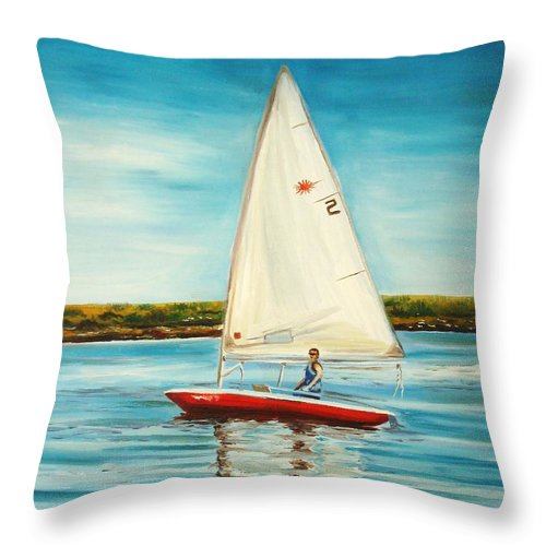 Water Throw Pillow featuring the painting His Laser by Elizabeth Robinette Tyndall