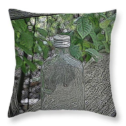 Bottle Throw Pillow featuring the mixed media His Last Drink by Steve K