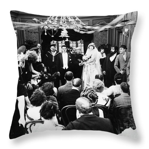 -weddings & Gowns- Throw Pillow featuring the photograph His Last False Step, 1919 by Granger