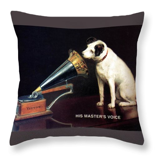 His Master's Voice Throw Pillow featuring the mixed media His Master's Voice - Hmv - Dog And Gramophone - Vintage Advertising Poster by Studio Grafiikka