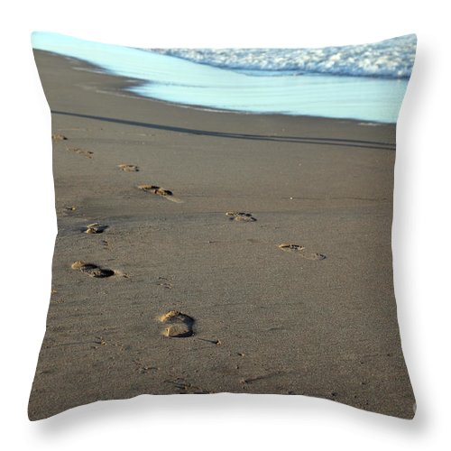 Sand Throw Pillow featuring the photograph His Path by Amanda Barcon