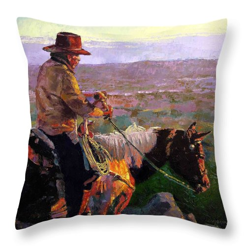 Coyboy Throw Pillow featuring the painting His Two Best Friends by John Lautermilch