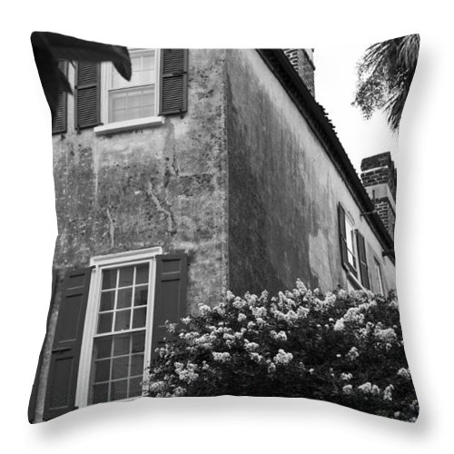 Historic Home Downtown Charleston South Carolina Home Residense Front Dustin Ryan Black White Throw Pillow featuring the photograph Historic Charleston Home by Dustin K Ryan